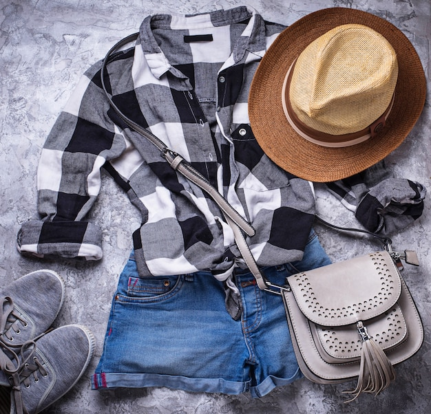 Summer girls hipsters outfit on gray background Premium Photo