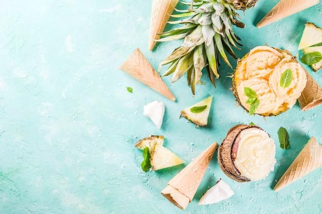 夏休み休暇の概念は、パイナップルグレープフルーツとココナッツの様々なトロピカルアイスクリームシャーベット冷凍ジュースを設定 Premium写真