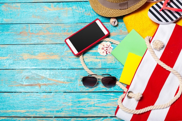 Summer holiday  with beach items Premium Photo