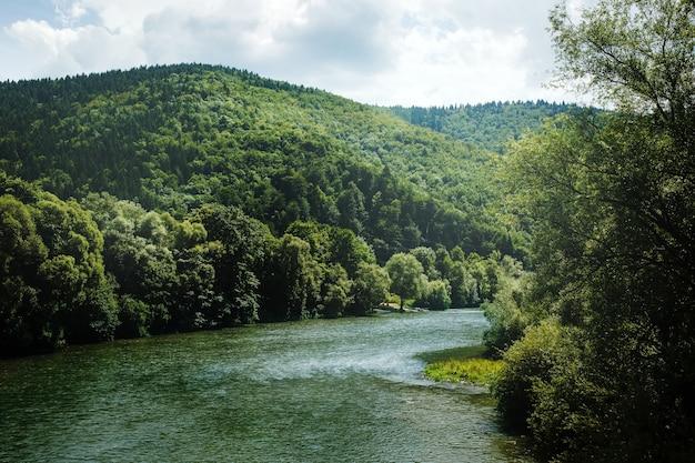 丘の間を流れる山川のある夏の風景 Premium写真