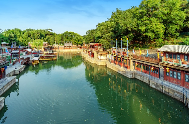 The summer palace, back hill lake and suzhou streeth Premium Photo