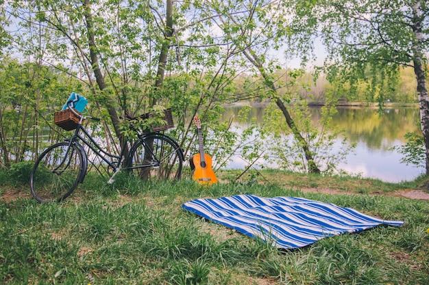 毛布、自転車、ギターと森の中で夏のピクニック。 Premium写真