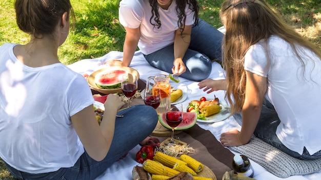 自然の中で友達と食べ物や飲み物を楽しみながら夏のピクニック。 無料写真