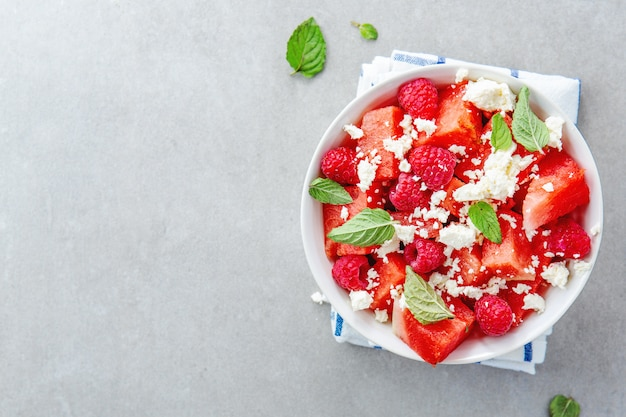 Summer salad with watermelon and feta Free Photo