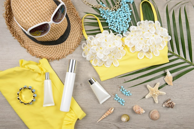 Summer and sunscreen, beauty cosmetics product for skin care and women accessories. Premium Photo