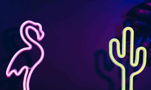 Summer time with pink flamingo, cactus and monstera leaf with neon pink and blue light.vacation Premium Photo