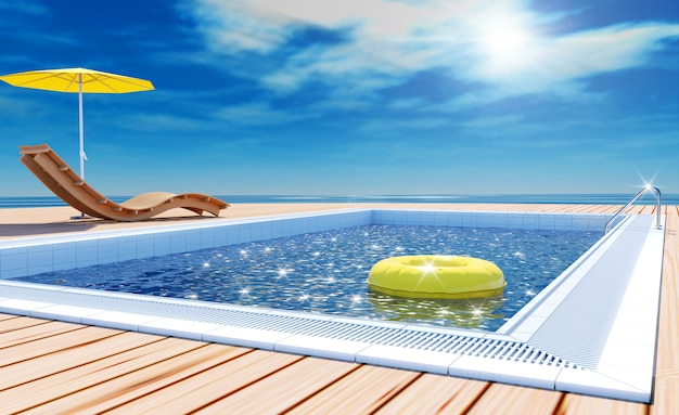 Summer vacation with swimming pool and sea view, 3d rendering Premium Photo