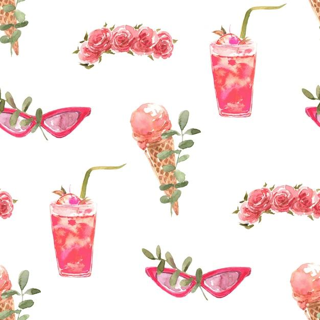Summer watercolor seamless pattern Premium Photo