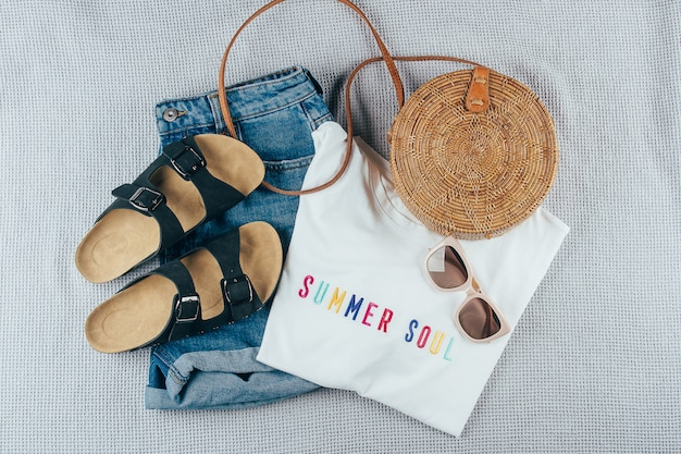 Summer women's clothing and accessories Premium Photo