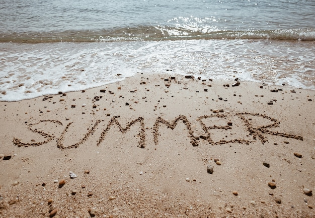 Summer Wording On Sand Sea Beach For Coming Season Concept Premium Photo