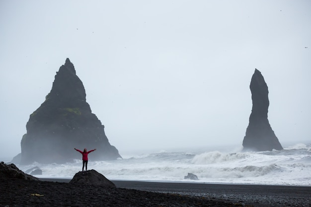 Summertime, woman in a pink coat standing on a black sand beach in iceland Premium Photo