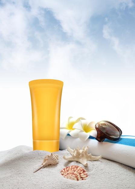 Sun block for summer sun protection Premium Photo