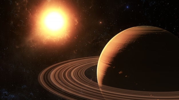 The sun shines on saturn in space, 3d rendering. Premium Photo