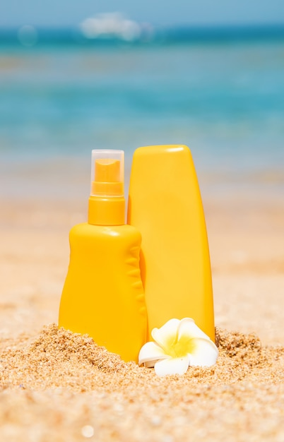 Sunblock on the beach Premium Photo