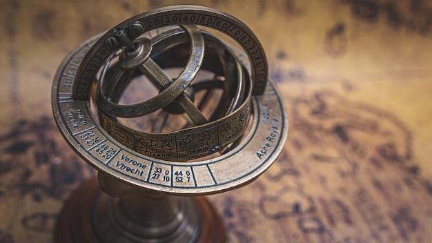 Sundial compass with zodiac sign Premium Photo