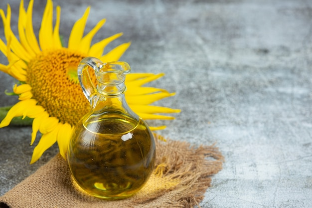 Sunflower oil on the table Free Photo