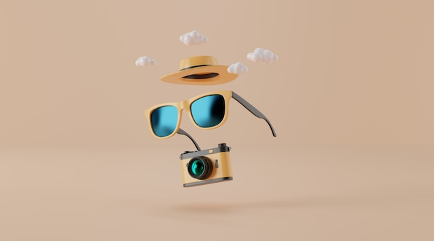 Sunglasses with hat and camera on beige. travel concept. Premium Photo