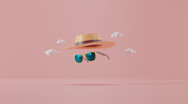 Sunglasses with hat on pink. travel concept. Premium Photo
