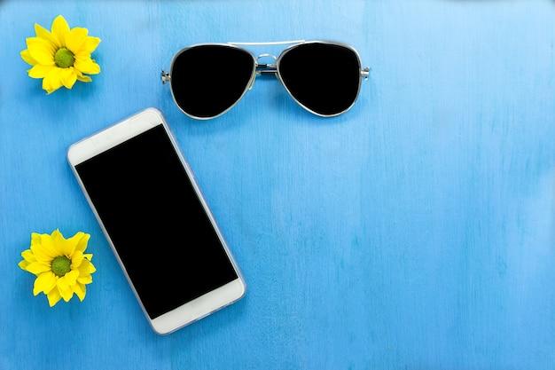 Wooden Floor Blue Sunglasses yellow FlowerTelephoneOn The For 0OPnwk8