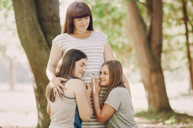 Sunlight expecting natural sisters love Free Photo