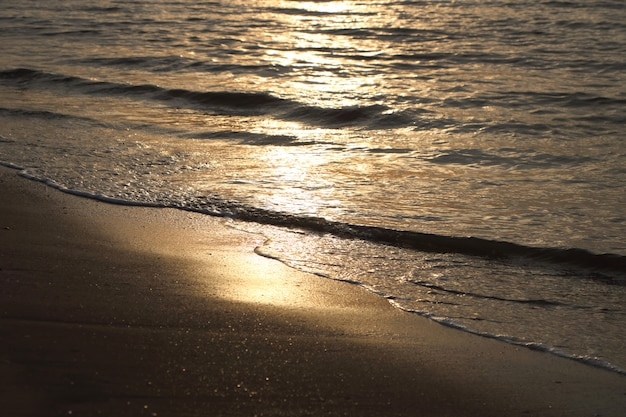 Sunlight reflect on wave sea water when sunrise at coast, felling tranquil Premium Photo