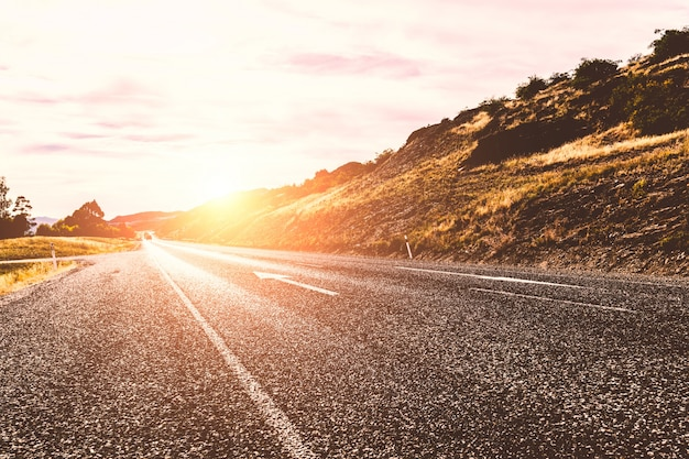 Sunny road Free Photo
