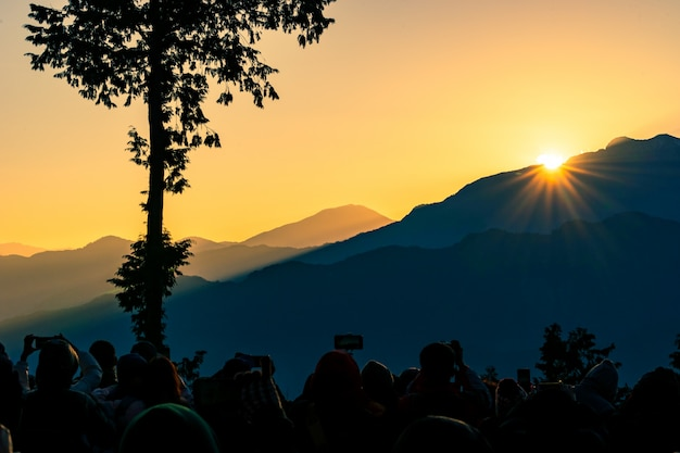 Sunrise at alishan national scenic area Premium Photo