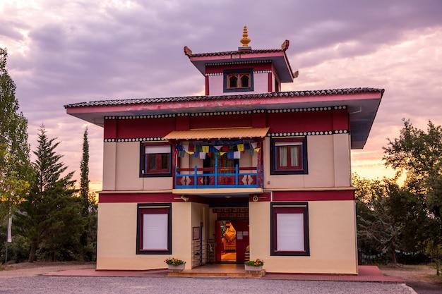 Sunrise in buddhist temple dag shang kagyu in panillo huesca aragon spain Premium Photo