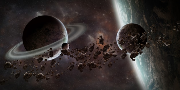 Sunrise over distant planet system in space 3d rendering elements of this image furnished by nasa Premium Photo