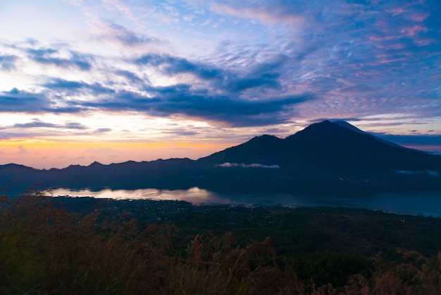 Sunrise over lake batur Free Photo
