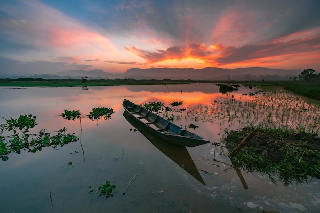 Sunrise rawa pening lake Premium Photo