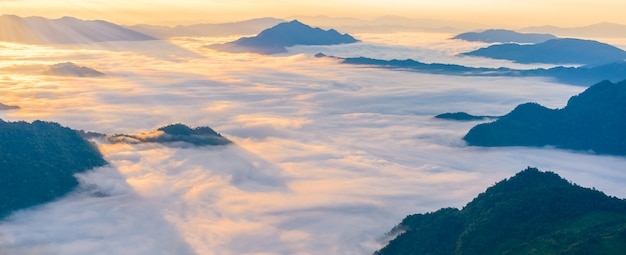 Sunrise and sea of mist, view from  phucheefa forest park Premium Photo