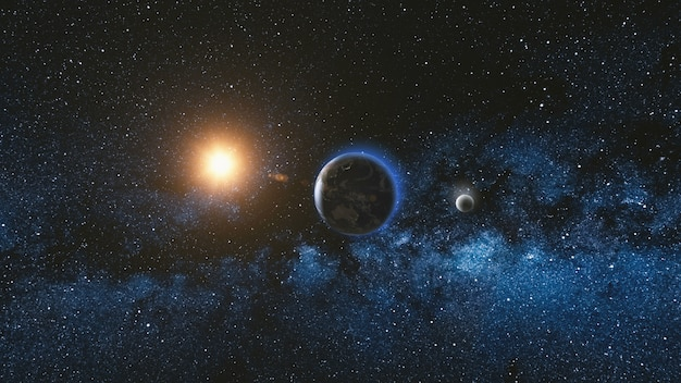 Sunrise view from space on planet earth and moon Premium Photo