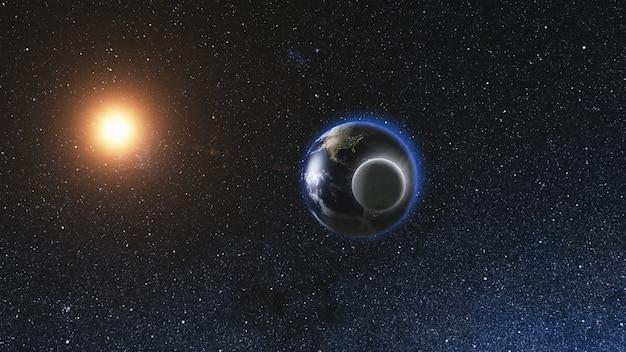 Восход солнца вид из космоса реалистичная земля с луной Premium Фотографии