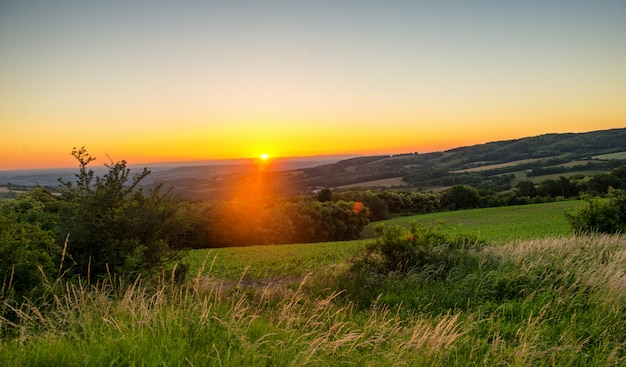 Sunset over the french countryside Premium Photo