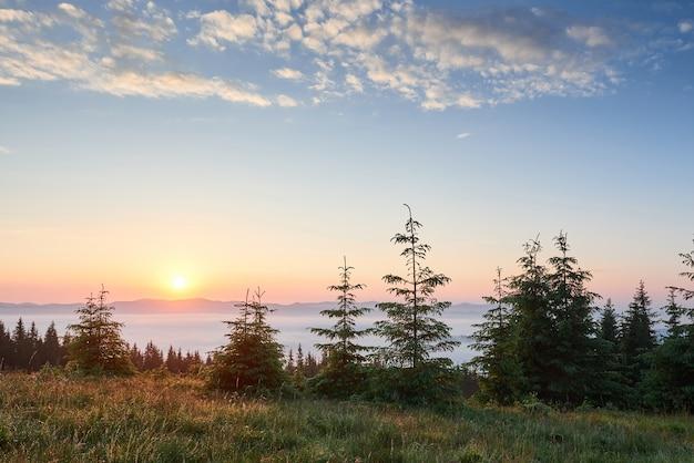 山の風景の夕日。劇的な空。ウクライナヨーロッパのカルパチア。 無料写真