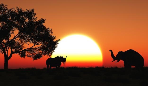 アフリカの風景の中にサイやゾウのレンダリング3d 無料写真