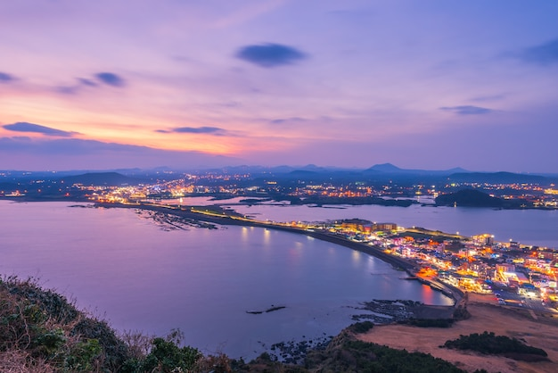 Sunset at jeju do seongsan ilchulbong , jeju island at night, south korea Premium Photo