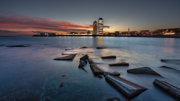 日没の風景の街の景色 無料写真