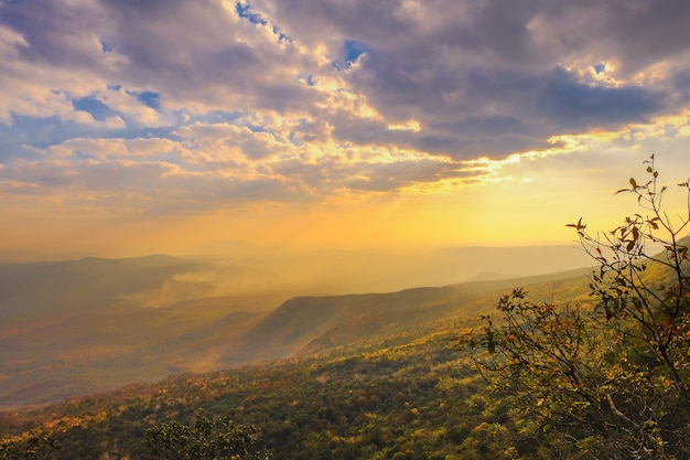 Sunset at pha nok khao view point, phu kradueng, loei province, thailand Premium Photo