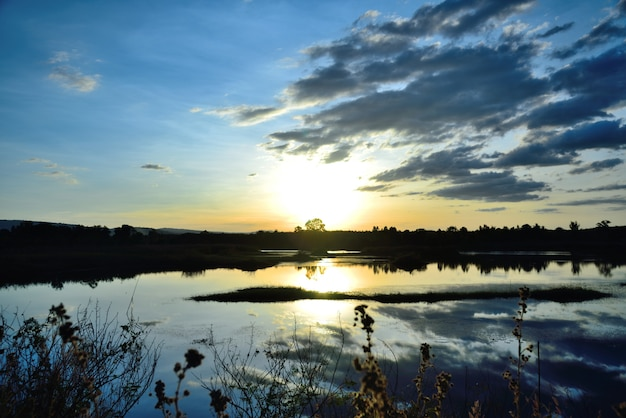 Sunset river landscape Premium Photo