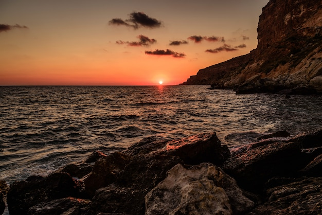 Sunset at sea in a storm Premium Photo