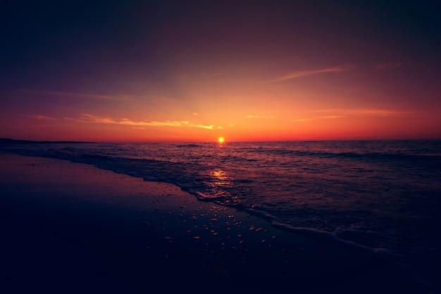 Sunset over sea. Free Photo