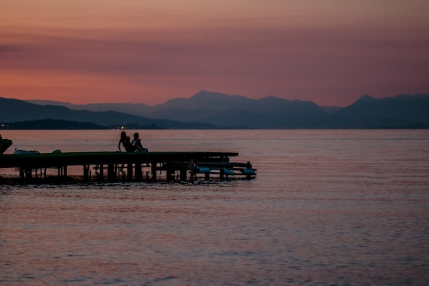 Sunset time on river Premium Photo