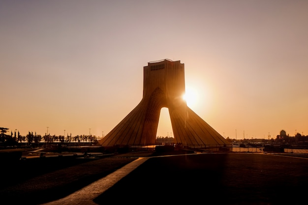 Sunset view at the azadi tower. tehran, iran. Premium Photo