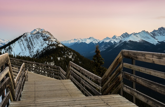 Sunset view of banff gondola pathway on sulphur mountain at banff national park in alberta, canada. Premium Photo