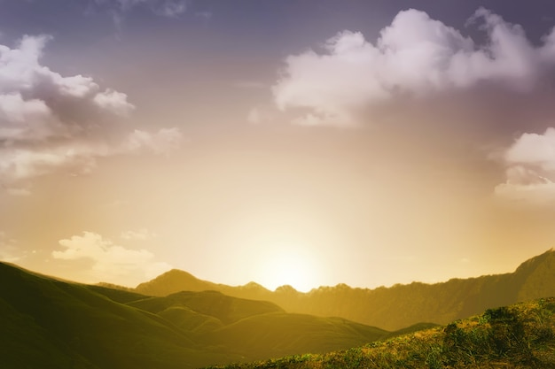 Sunset view with mountain background Premium Photo