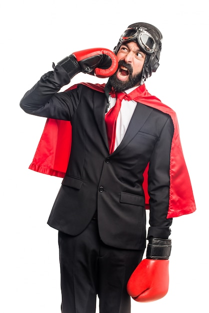 Super hero businessman with boxing gloves Free Photo