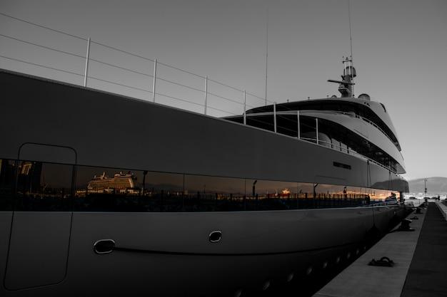 Super yatch at gibraltar marina Premium Photo