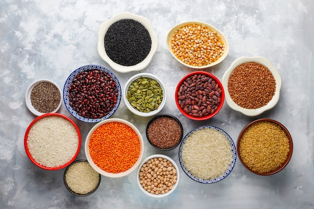 Superfoods, seeds and grains for vegan and vegetarian eating. clean eating Free Photo
